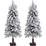 Fraser Hill Farm Set of Two 4-Ft. Snowy Alpine Trees with Clear Lights (FFSA040-1SNSET2)