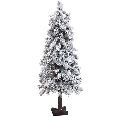 Fraser Hill Farm 4-Ft. Snowy Alpine Tree with Clear Lights (FFSA040-1SN)