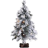 Fraser Hill Farm 2-Ft. Snowy Alpine Tree with Clear Lights (FFSA020-1SN)