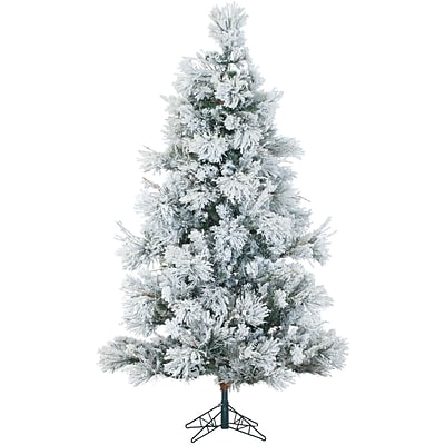 Fraser Hill Farm 9 Ft. Flocked Snowy Pine Christmas Tree with Clear LED String Lighting (FFSN090-5SN)