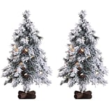 Fraser Hill Farm Set of Two 2-Ft. Snowy Alpine Trees with Clear Lights (FFSA020-1SNSET2)