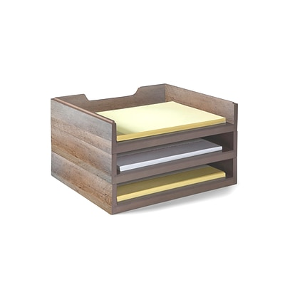 Bindertek Stacking Wood Desk Organizers, 3 Letter Tray Kit (WK4-DR)