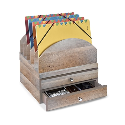 Bindertek Stacking Wood Desk Organizers Step Up File & 2 Drawer Kit (WK9-DR)
