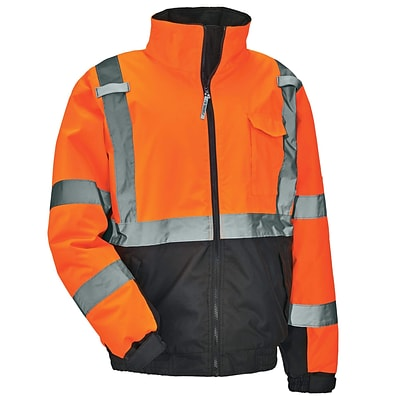 GloWear® 8377 Type R Class 3 Quilted Bomber Jacket, Orange, Extra Large (25615)