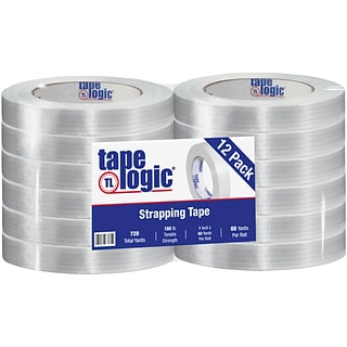 Tape Logic® 1400 Strapping Tape, 1 x 60 yds., Clear, 12/Case (T915140012PK)
