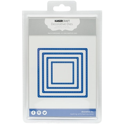 Kaisercraft Nesting Dies 4/Pkg-Stitched Squares 1.75X1.75 To 4X4