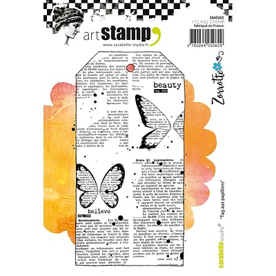 Carabelle Studio Cling Stamp A6-Tag With Butterflies