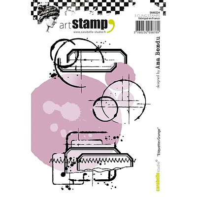 Carabelle Studio Cling Stamp A6-Grunge Labels