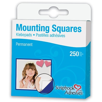 Scrapbook Adhesives Mounting Squares 250/Pkg-Permanent, White, .5X.5