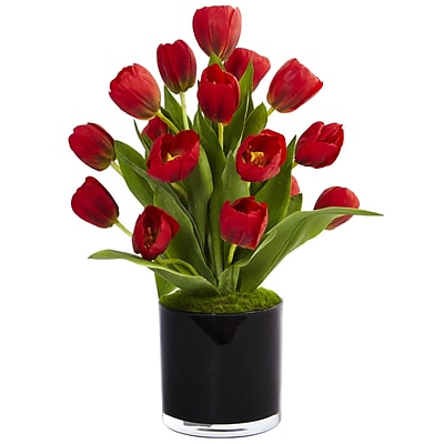 Nearly Natural Tulips in Black Glossy Cylinder (1467-RD)
