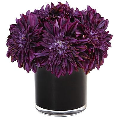 Nearly Natural Dahlia Mum in Black Glossy Cylinder (1471-PP)