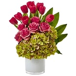 Nearly Natural Tulip Rose & Hydrangea Arrangement (1472-GK)