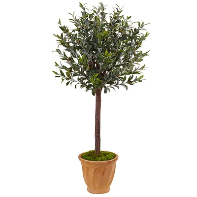 Nearly Natural 4.5' Olive Tree in Terracotta Planter (5837)