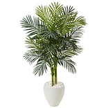 Nearly Natural 4.5' Golden Cane Palm Tree in White Oval Planter (5986)