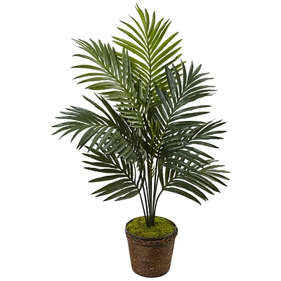 Nearly Natural 4' Kentia Palm Tree in Coiled Rope Planter (5993)