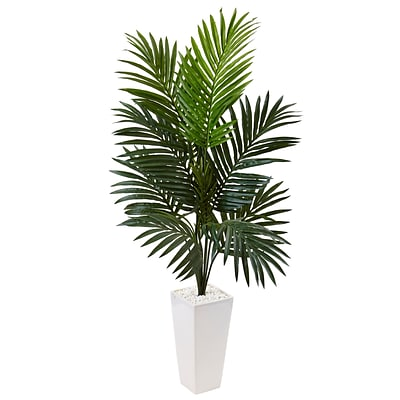 Nearly Natural 4.5' Kentia Palm Tree in White Tower Planter (5996)