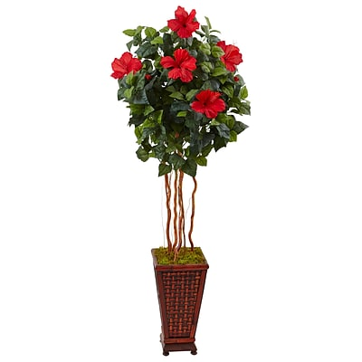 Nearly Natural 5' Hibiscus Tree in Decorated Wooden Planter (5999)