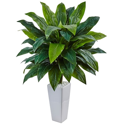Nearly Natural Cordyline in White Tower Planter (6977)