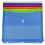 JAM Paper Plastic Binder Envelopes with Hook & Loop Closure, 3 Hole Punch, 9.5 x 1.25 x 11.5, Assort