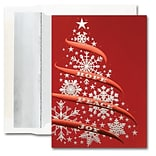 JAM Paper® Blank Holiday Christmas Card Set, Beautiful Tree, 25/pack (526M1245WB)