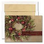 JAM Paper® Blank Holiday Christmas Card Set, Happy Holidays Wreath, 25/pack (526M1537WB)
