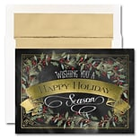 JAM Paper® Blank Holiday Christmas Card Set, Chalkboard Banner, 25/pack (526M1265WB)