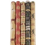 JAM Paper® Kraft Wrapping Paper Rolls - 125 sq ft. - Kraft Christmas Set - 5 Rolls/Pack