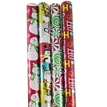 JAM Paper® Wrapping Paper - Premium Foil Gift Wrap - 100 Sq Ft - Red HoHoHo Santa Set - 4/Pack