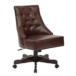 Inspired by Bassett Rebecca Office Chair with Dark Espresso Finish Base and Cocoa Bonded Leather Fab