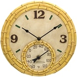 Springfield Precision 12 Poly Resin Clock with Thermometer, Bamboo (91496N)