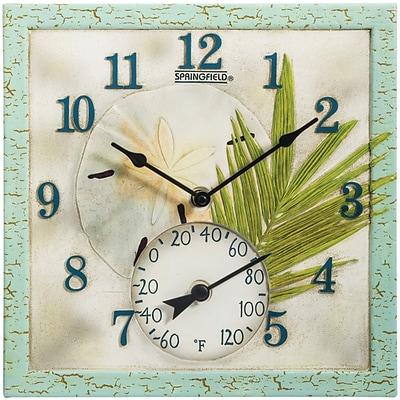 Springfield Precision 12 Poly Resin Clock with Thermometer, Sand Dollar (92320)