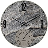 Springfield Precision 12 Poly Resin Clock with Thermometer, Slate Stone (92333)