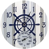 Springfield Precision 14 Poly Resin Clock with Thermometer, Captains Wheel (92668)