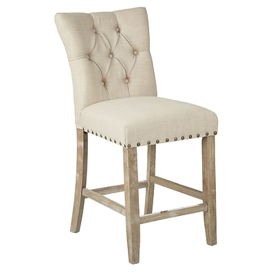 Inspired by Bassett Preston Counter Stool with Brushed Rustic Finish Legs and Marlow Burlap Fabric 2 /Pack (BP-PSB24K-M34)