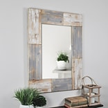 FirsTime® Mason Planks 31.5 H x 24 W Gray & White Wooden Wall Mirror (70001)