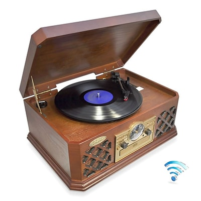Pyle Home Bluetooth Vintage Classic-Style Turntable Record Player with CD & Cassette Players (PTCD4BT)