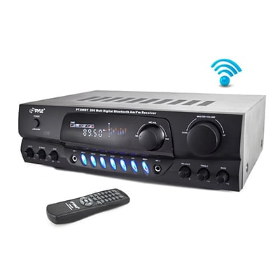 Pyle Home Home Theater Bluetooth Receiver Amplifier with AM/FM Radio & Two Microphone Inputs (PT265BT)