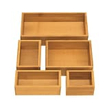 Seville Classics 5-Piece Bamboo Storage Box Drawer Organizer Set