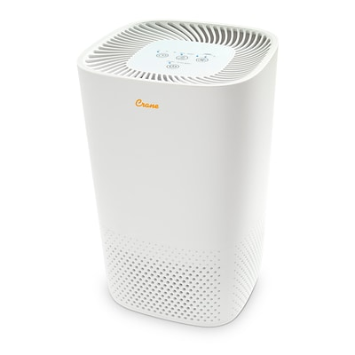 Crane Germicidal UV Light & True HEPA Air Purifier for 250 Sq. Ft. Coverage, White (EE-5067)