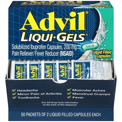 Advil Liqui-Gels Pain Reliever/Fever Reducer, Solubilized Ibuprofen 200mg, 100 Count (50 Packets of 2 Capsules) (016902)