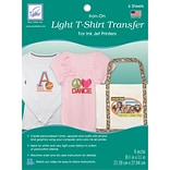 Light T-Shirt Iron-On Ink Jet Transfer Sheets 8.5X11 6/Pkg-
