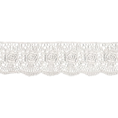 Scalloped Rose Venice Lace 1-3/4X10yd-White