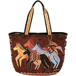 Shoulder Tote Zipper Top 23.5X5.5X15.25-Native Horses