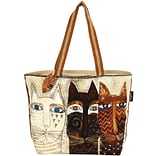 Shoulder Tote Zipper Top 19X4X15-Ancestral Cats