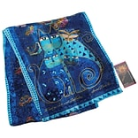 Laurel Burch Scarves-Indigo Cats W/Sequins
