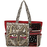 Oversized Tote Zipper Top 22.5X5.5X15.25-Whiskered Cat