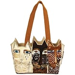 Medium Tote Zipper Top 14.5X4X8-Ancestral Cats