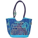 Scoop Tote Zipper Top 17X7X11-Indigo Cats