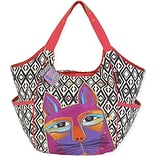 Scoop Tote 20X6X12.5-Whiskered Cats - Fuchsia