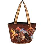 Medium Tote Zipper Top 13.75X6X9.75-Native Horses